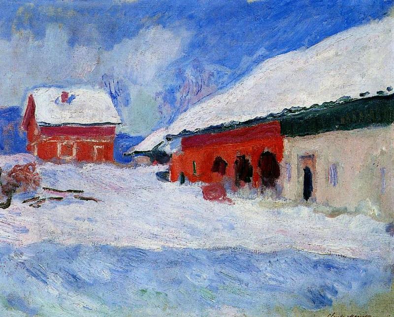Клод Моне. Красные дома Бьорнегаарда в снегу. Норвегия