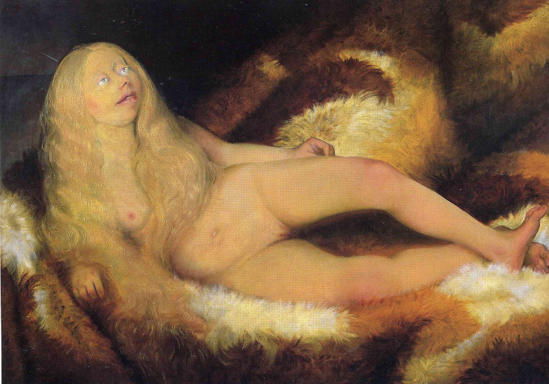 Otto Dix. Girl on fur bed