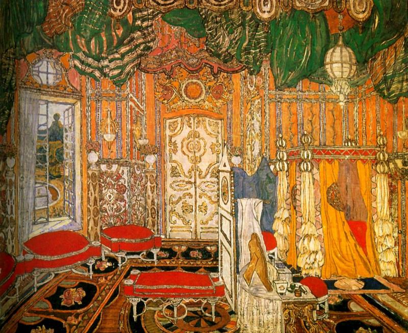 Москва декорации к комедии п-о бомарше безумный день или женитьба фигаро, 1927 г 74 х 87,5 см