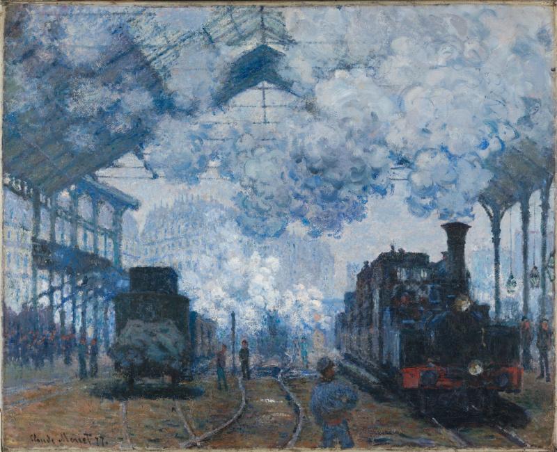 Claude Monet. The Saint-Lazare station in Paris arrival of a train