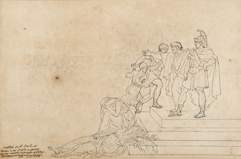 Jacques-Louis David. Old Horace, defending her son. A Sketch I