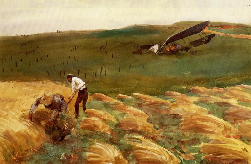 John Singer Sargent. The collapse of aeroplane