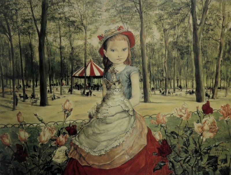 Цугухару Фудзита ( Леонар Фужита ). Девушка в парке