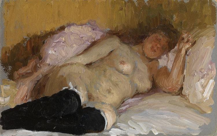 Ilya Efimovich Repin. The sleeping artist's wife Natalia Normand