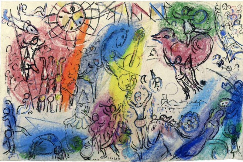Marc Chagall. A sketch for a Comedy del Arte
