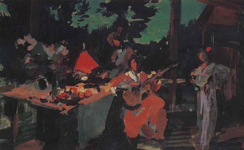 Konstantin Korovin. Terrace. Evening at the cottage