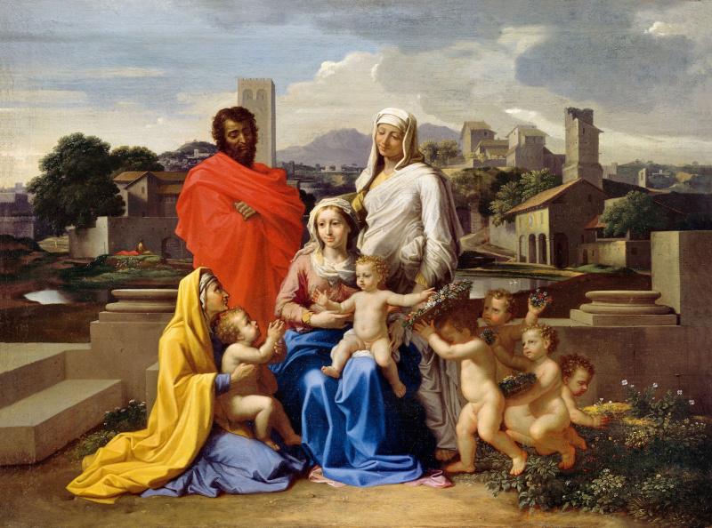 Никола Пуссен. Святое семейство со Св. Анной, Елизаветой и Иоанном.