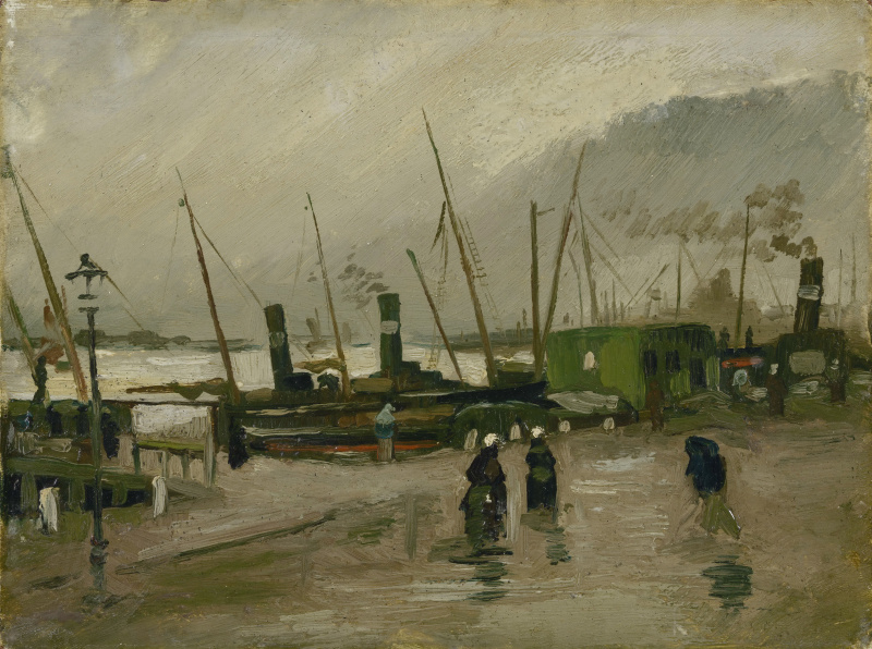 Винсент Ван Гог. Причал с кораблями в Амстердаме