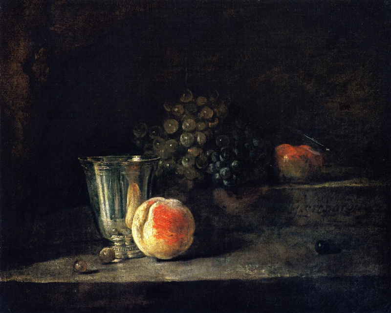 Jean Baptiste Simeon Chardin. Still life with silver goblet, peach, red and white grapes