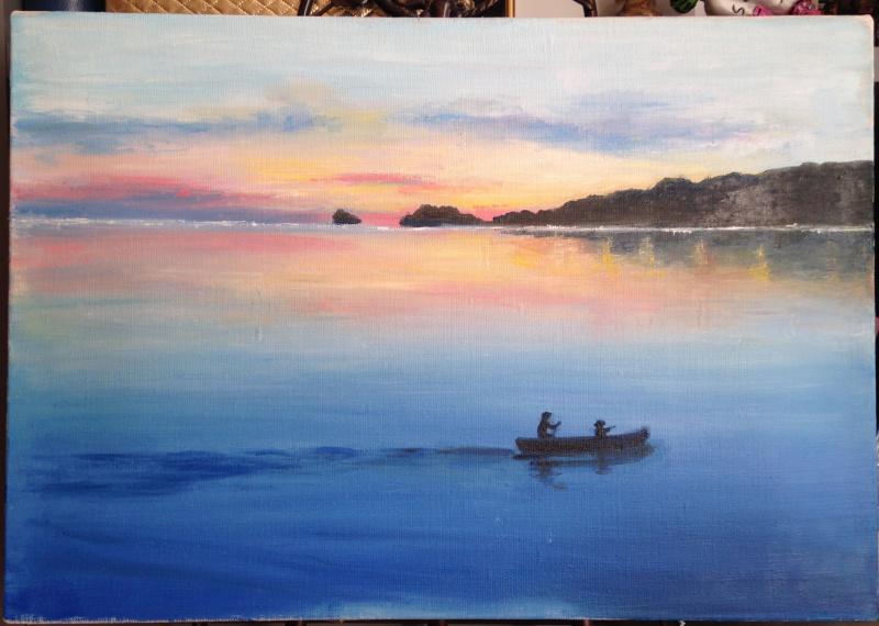 """Неизвестный  художник. """"двое в лодке"""""""