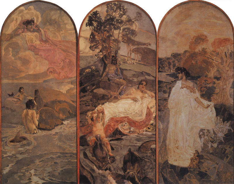 Mikhail Aleksandrovich Vrubel. The Judgment Of Paris. Triptych