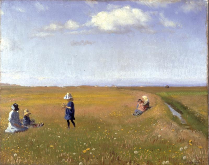 Микаэль Питер Анкер. Дети и девушки собирают цветы в северной части Скагена