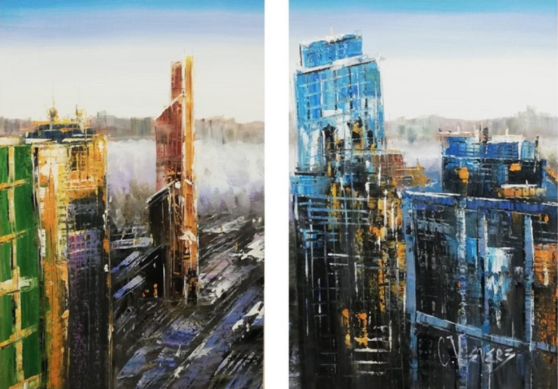 Christina Viver. Diptych. Moscow City. View of the city from a bird's eye view