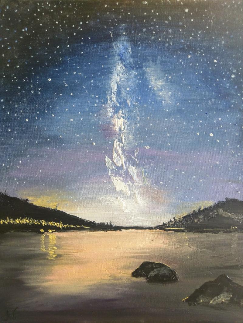 Alexandra Victoria Poussineau. Sunset on lake Saint Cassien