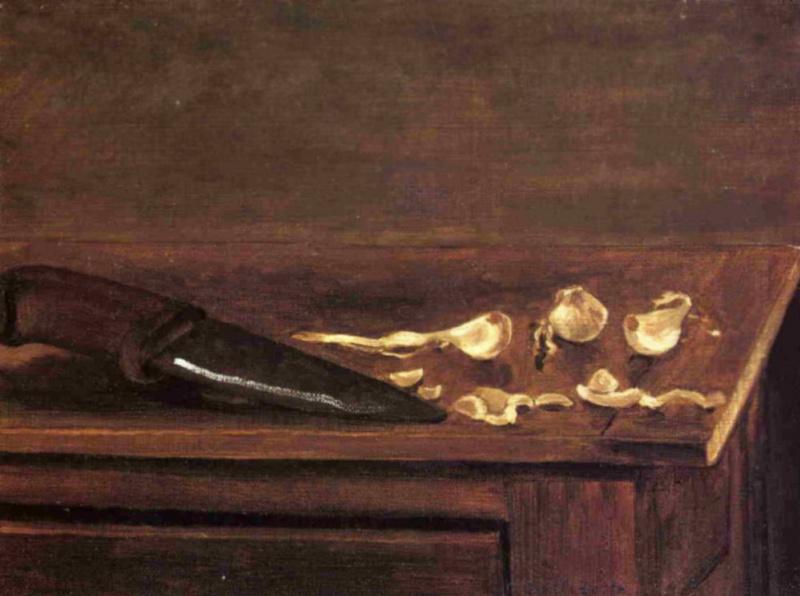 Гюстав Кайботт. Чеснок и нож в углу стола