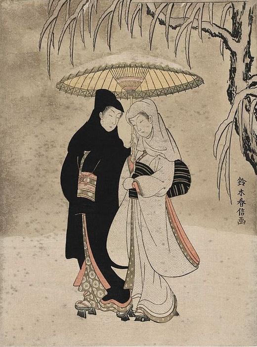 Судзуки Харунобу. Влюбленные под зонтом