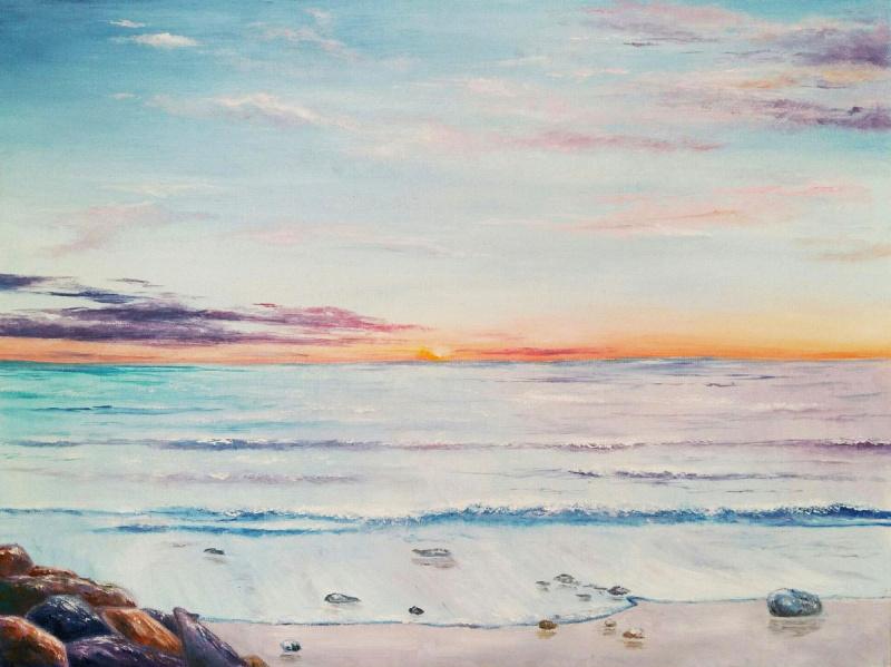 Natalia Rusakova. Sunset over the sea