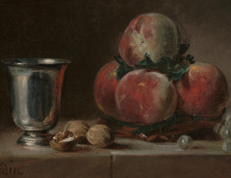 Жан Батист Симеон Шарден. Натюрморт с персиками, серебряным кубком, виноградом и грецкими орехами. Фрагмент