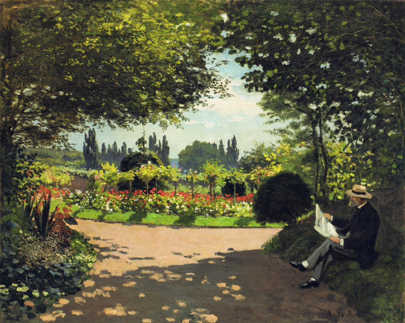 Claude Monet. Adolphe Monet reading in the garden
