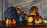 Ilya Ivanovich Mashkov. Still life with bread and pumpkin