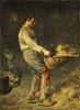 Peasant sifting grain
