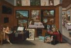 Франс Франкен Младший. Интерьер галереи и ценитель, любующийся картинами