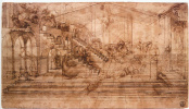 "Leonardo da Vinci. Perspective sketch of the ""adoration of the Magi"""