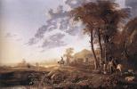 Альберт Кейп. Вечерний пейзаж с всадниками и пастухами