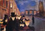 Edvard Munch. Evening on the street of Karl John