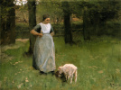 A woman from Laren with lamb