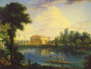 View of the Kamennoostrovsky Palace and the pontoon bridge over Bolshaya Nevka from the Stroganov embankment