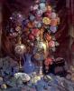 Вазы, бумажные цветы и фрукты