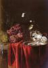 Натюрморт с виноградом, часами, серебряным кувшином и бокалом