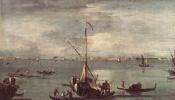 Франческо Гварди. Лагуна с лодками и плотами