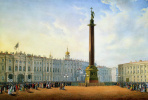 View of the Palace square and the Winter Palace in St. Petersburg