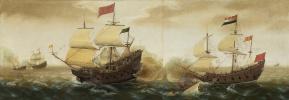 Cornelis Verbeek. A Naval Encounter between Dutch and Spanish Warships