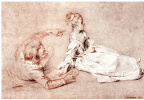 Антуан Ватто. Лист этюдов: Сидящая женщина и лежащий мужчина