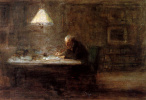 Writing man at the table