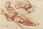 Адриан ван де Вельде. Два наброска отдыхающего пастуха