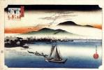 Утагава Хиросигэ. Гуси летят на Катада, озеро Бива