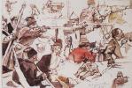 """Василий Иванович Суриков. Казаки. Этюды фигур для левой части композиции """"Покорение Сибири Ермаком"""""""