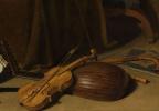 Питер Клас. Ванитас. Натюрморт с мальчиком, вытаскивающим занозу. Фрагмент 3. Скрипка и другие музыкальные инструменты