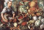 Иоахим Беуккелаеп. Продавщица с фруктами, овощами и птицей