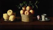 Тарелка с лимонами, корзина с апельсинами и роза на блюдце