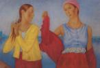 """Кузьма Сергеевич Петров-Водкин. Две девушки. Этюд к картине """"Девушки на Волге"""""""