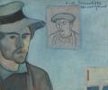 Self portrait with a portrait of Gauguin