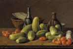 Луис Мелендес. Натюрморт с огурцами, помидорами и посудой