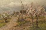 Юлий Юльевич Клевер. Пейзаж с деревьями в цвету