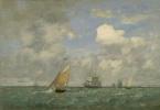 Эжен Буден. Корабли и парусные лодки оставляя Гавр