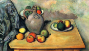 Paul Cezanne. Still life with pitcher and fruit on table